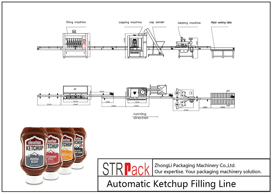 Llinell Llenwi Ketchup Awtomatig